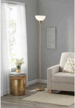 """Mainstays Metal Floor Lamp 5' 11"""" H Gold Finish with White S"""