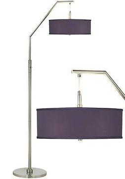 Modern Arc Floor Lamp Brushed Nickel Faux Silk Shade for Liv