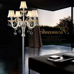 Modern Bubbly 5-Light Crystal Floor Lamp with Cream Glass&Fa