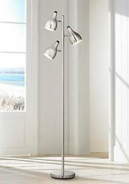 Modern Floor Lamp 3-Light Tree Brushed Steel for Living Room