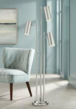 Modern Floor Lamp 3 Light Tree Chrome and Brushed Nickel for