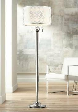 Modern Floor Lamp Brushed Steel Silver Pattern Shade for Liv