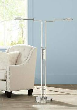 Modern Floor Lamp Double Swing Arm Satin Nickel Dimmable LED