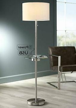 Modern Floor Lamp With Table Glass Satin Steel USB Port Outl