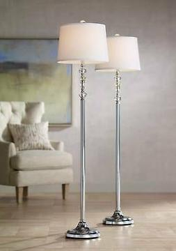 Modern Floor Lamps Set of 2 Polished Steel Crystal Glass for