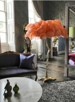 Modern Ostrich Copper Feather Floor Light Table Lamp For Foy