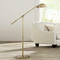 360 Lighting Modern Pharmacy Floor Lamp Antique Brass with A