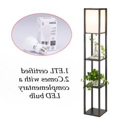 contemporary stand floor lamp w storage shelves