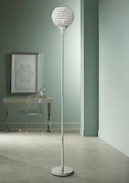 Modern Torchiere Floor Lamp Chrome Beaded Acrylic Shade For
