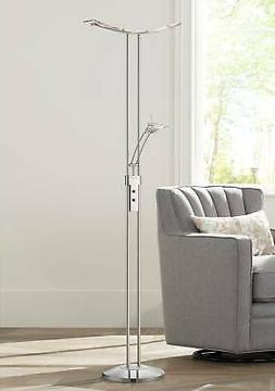 Modern Torchiere Floor Lamp Silver LED with Side Light For L