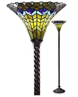 "72"" Tiffany Style Peacock Torchiere Lamp Tiffany Lamps Torch"