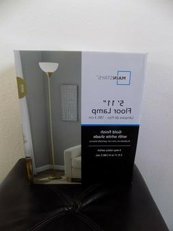 NEW IN BOX 5''11 MAINSTAYS  FLOOR LAMP SILVER ,GOLD