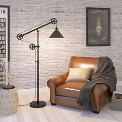 NEW  Industrial Pulley Floor Lamp Dark Bronze - Improved Des