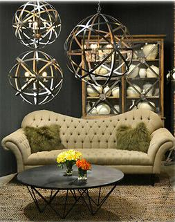 Nickel Plated Hanging Three Arm 'Globe' Lamp Chandelier