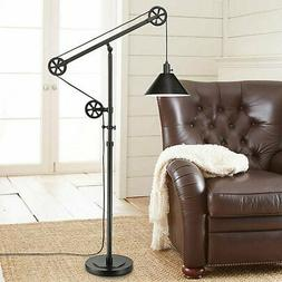 Pulley Floor Lamp, Bronze Finish, Industrial Style, Home Or