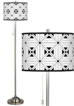 Quadrille Brushed Nickel Pull Chain Floor Lamp