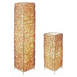 S.H. International Rectangle Rattan Lamp Set - Table and Flo