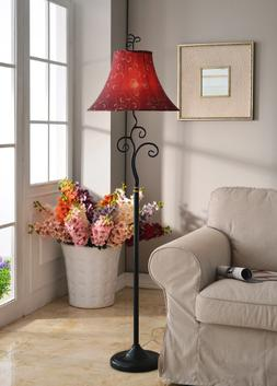 Red Floor Lamp Shade Bohemian Metal Frame 61 Inch Tall Bronz