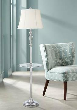 Rianna Crystal And Metal Floor Lamp With Tray Table