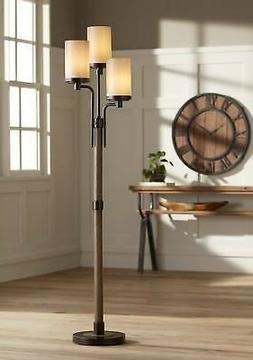 Rustic Farmhouse Floor Lamp 3-Light Tree Bronze Faux Wood Li