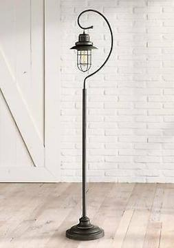 Rustic Lantern Floor Lamp Hanging Bronze Scroll Edison Bulb