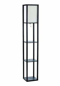 Simple Designs LF1014-BLK Floor Lamp Etagere Organizer Stora