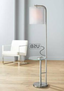 Sinclair Brushed Nickel Tray Table Floor Lamp with USB Port