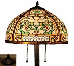 """Tiffany Style Stained Glass Floor Lamp """"Golden Mission"""""""