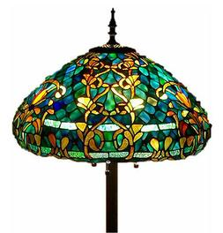 """Tiffany Style Stained Glass Floor Lamp """"Azure Sea"""" w/ 20"""" Sh"""