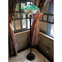 Tiffany Style Floor Lamp Stained Glass Vintage Victorian Nig