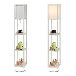 Stand Floor Lamp w/ Storage Shelf & Fabric Shade 9.50W LED B