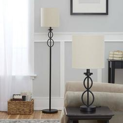 Mainstays Table and Floor Lamp Set, Black Matte Finish