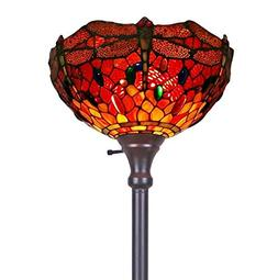 Amora Lighting Tiffany-style AM040FL14 Dragonfly Torchiere F