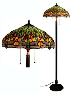 Tiffany Style Dragonfly Green Floor Lamp, 64 Inch by 18 Inch