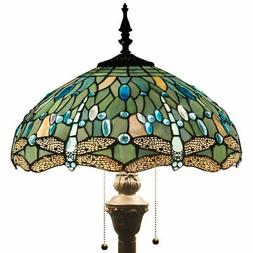 Tiffany Style Floor Standing Lamp 64 Inch Tall Sea Blue Stai