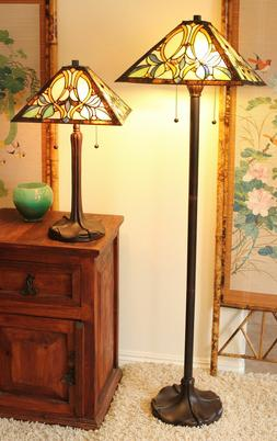 Tiffany Style Amber Floral Table and Floor Lamp Set Handcraf