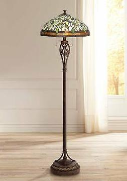 Tiffany Style Floor Lamp Bronze Stained Glass Leaf Pattern F
