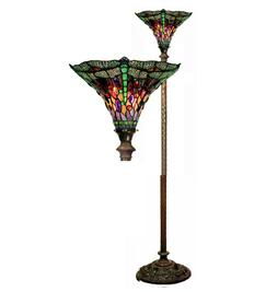 Tiffany Style Glass Floor Lamp Torchiere Shade Living Room L
