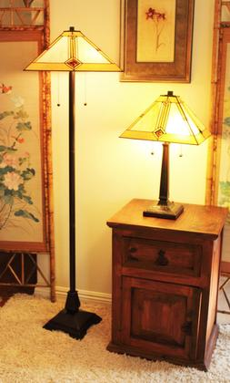 """Tiffany Style Mission Table and Floor Lamp Set 16"""" Shade"""
