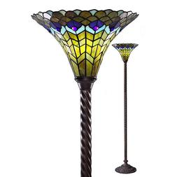 "Tiffany Style Peacock Torchiere 72"" High Lamp Torch Floor La"