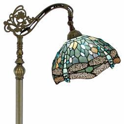 Dragonfly Reading Floor Lamp Tiffany Style Stained Glass Sha