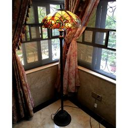Tiffany Style Torchiere Floor Lamp Brown Jewels Stained Glas
