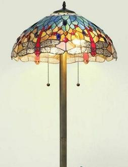 Tiffany Style Torchiere Floor Lamp Red Blue Yellow Stained G