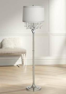 Traditional Chandelier Floor Lamp Satin Steel Chrome Crystal