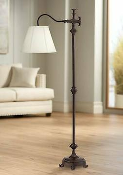 Traditional Downbridge Floor Lamp Bronze Natural Linen for L