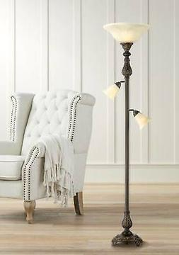 Traditional Torchiere Floor Lamp 3-Light Tree Brown for Livi