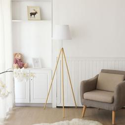Tripod Floor Lamp Height 63'' Burlywood Finish White Fab