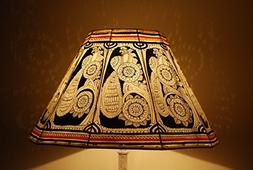 Vintage Style Floor Lampshade, Hand Painted Leather Lamp Sha