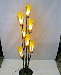 WROUGHT IRON FLOOR LAMP & 7 SIGNED MOUTH BLOWN YELLOW GLASS